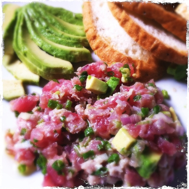 Ahi Tuna Tartar inspired by Spruce. My version is with kaffir lime juice and zest.
