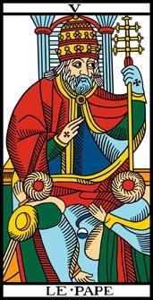 Arcano 5. El Papa. Le Pape. Tarot de Marsella.