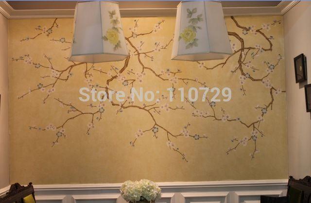de hand- geschilderd non- woven met zijden behang schilderen pruim bloesem muur deksel sticker