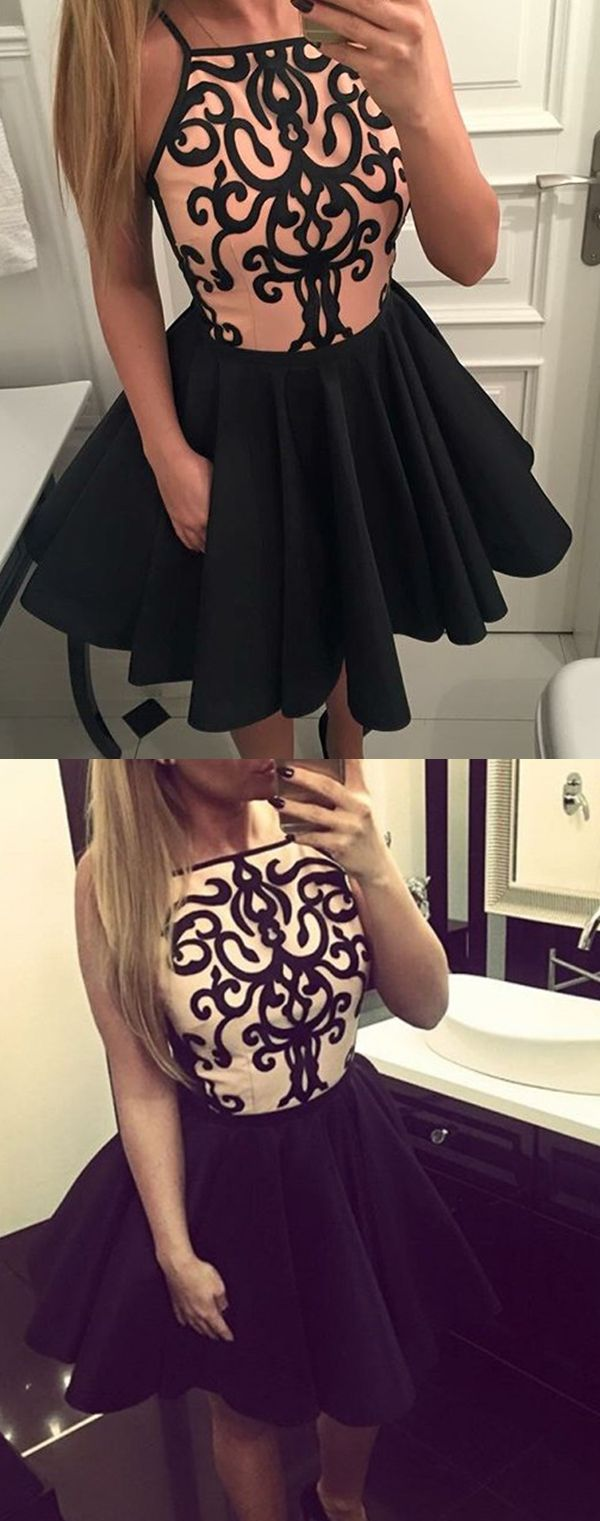a line bateau short homecoming dresses, short homecoming dress with appliques, black short prom dresses with pleats