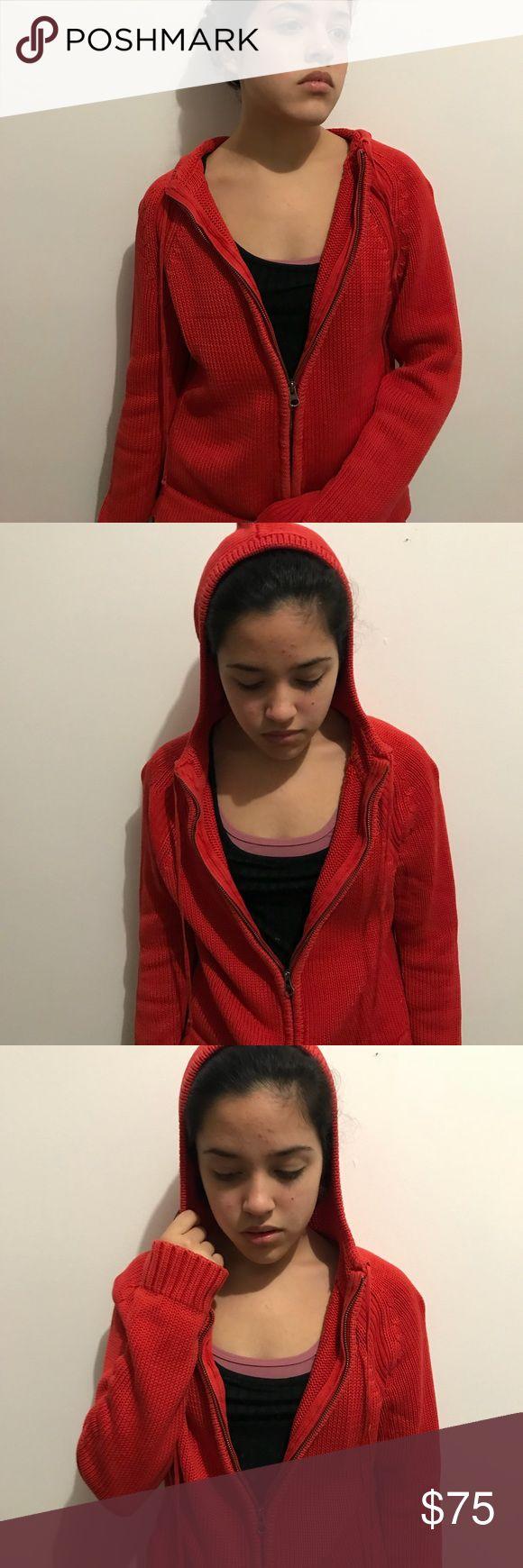 Calvin klein knitted zip up sweater Red orange zip up sweater worn 2 times Calvin Klein Sweaters