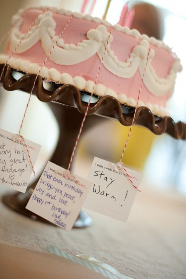 """@Brooke Valdovinos  1st birthday or baby shower - a """"wish"""" cake where the attendee's were mailed a candle and a wish card with their invitation - each person filled out a wish, attached to their candle and had the birthday girl blow out the wishes.  what a great idea!"""