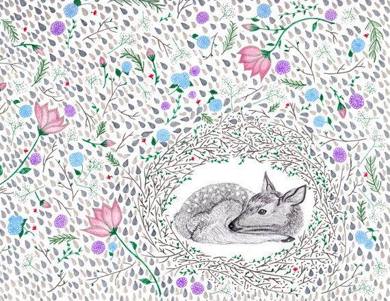 deer dwelling print: Foxes Illustrations, Deer Dwell, Animal Art, Deer Art, Watercolor Pencil, Dear Deer, Quirky Illustrations, Dwell Prints, Art Illustrations Design
