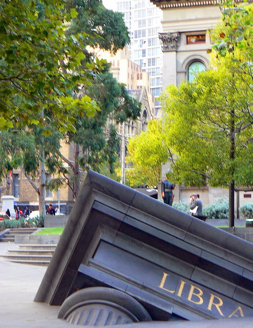 Sunken library, outside Melbourne State Library.