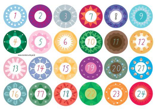 Adventskalender - Zahlen in verschiedenen Größen