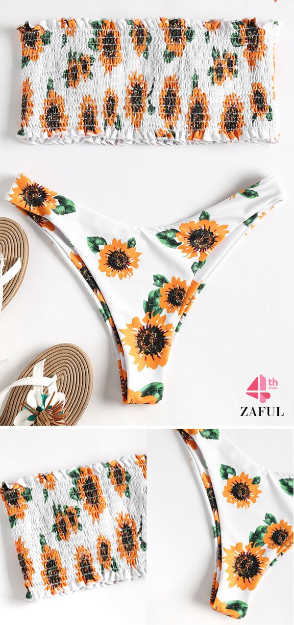 3e3a064587 Strapless Sunflower Smocked Bikini. Floral print throughout, this sexy two  piece bikini swimwear features a bandeau collar top with padded cups  lining, ...