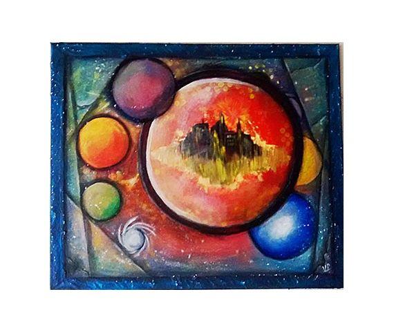 TABLEAU PEINTURE abstrait cercle planete univers Abstrait Acrylique  - Ici ou ailleurs https://www.facebook.com/vepons