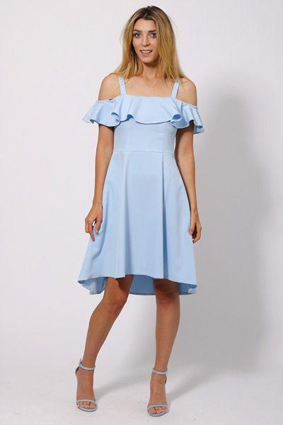 Asymmetrisches Kleid mit Carmenausschnitt - hellblau ...