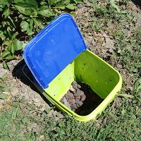 This summer we installed a new feature, though well hidden, in our backyard. Gardener Guy had seen on an HGTV show how to compost dog waste...