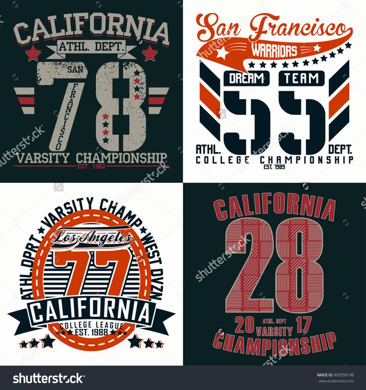 Set of creative t-shirt graphic designs, vintage print stamps, Sports wear typography emblems, Vector