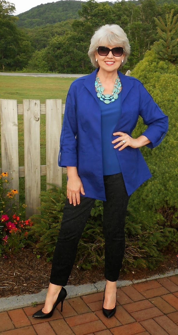 Fifty, not Frumpy-turquoise jewelry with royal blue; interesting combination-jc