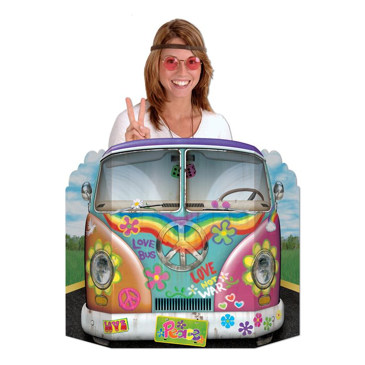 Riesen-Pappaufsteller Hippie Bus