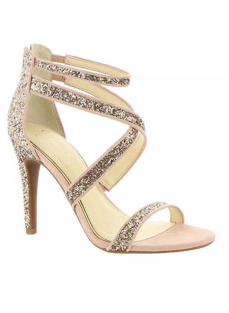 4c797ff72a45 Jessica Simpson Ellenie2 7.5 Champagne Pink Multi Glitter Suede Sandals New