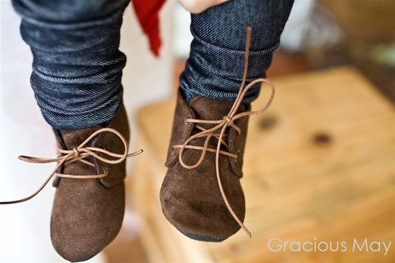 Dapper Brown Suede Shoes, Baby Boy Fall/Winter by GraciousMay