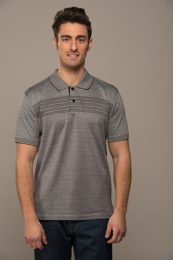 M957227.   State of the art cotton double mercerized yarn dyed polo shouts exuberance from touch and look. Comes in grey engineered stripes for the sporty you. A must buy.