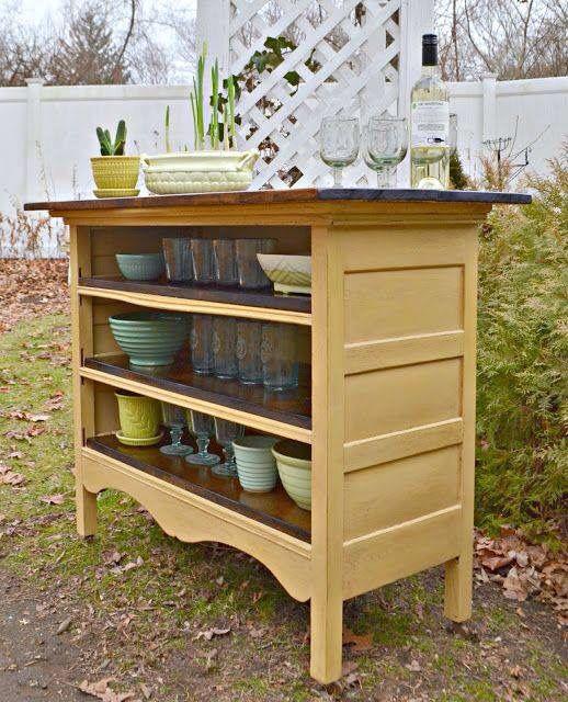 Dresser converted to kitchen storage/island