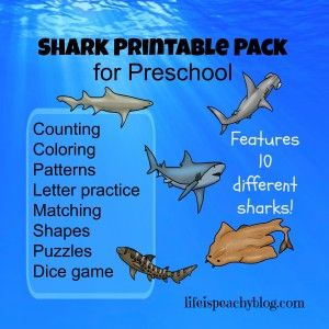 Shark Printable Pack for Preschoolers | Life is Peachy