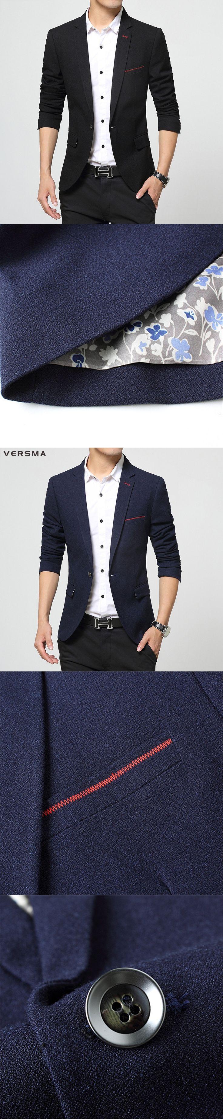 VERSMA 2017 Korean Style Clothing Mens Stylish Blazer Suit Jacket Party Wear Fitted Royal Blue Designer Mens Blazer for Boys 3XL