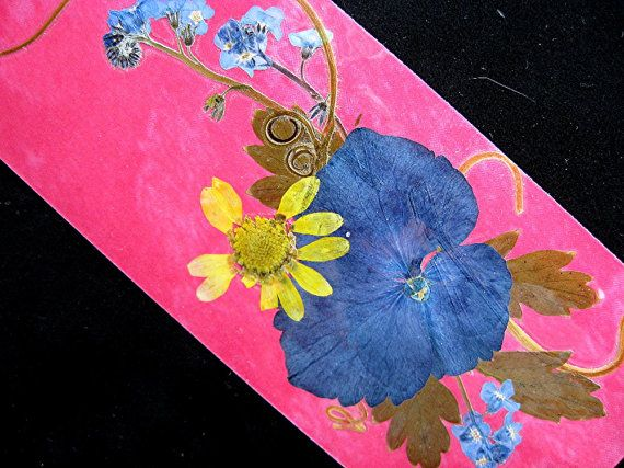 TWO Real Flower Valentines Bookmarks Love Friend by mingogardens