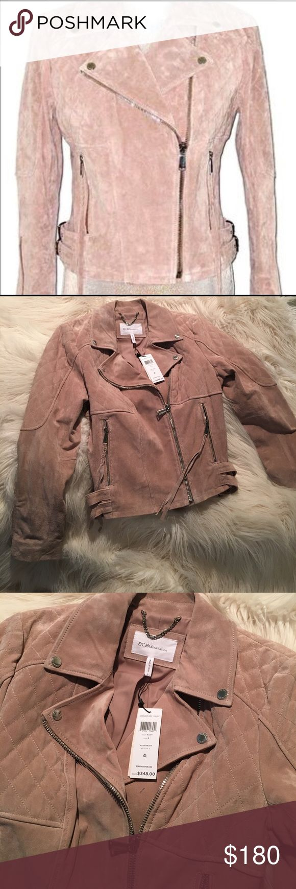 BCBGeneration Blush Suede Moto Jacket Gorgeous BCBGeneration Blush Suede Moto Jacket. Perfect condition. Never been worn. BCBGeneration Jackets & Coats