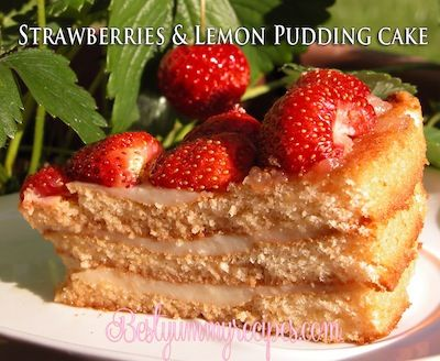 3 Layer Cake with Strawberries and Lemon Pudding