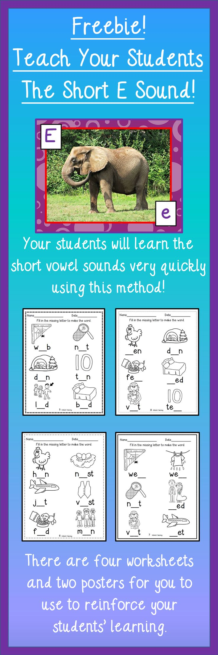 """FREE - Teach your students the short """"e"""" sound in a fun and easy way! Includes two posters and four free worksheets!"""