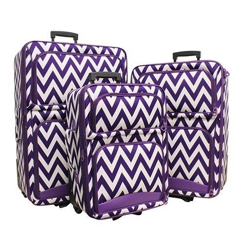 PURPLE CHEVRON STRIPE 3 PIECE ROLLING LUGGAGE SET SUITCASE TRAVEL #Unbranded…