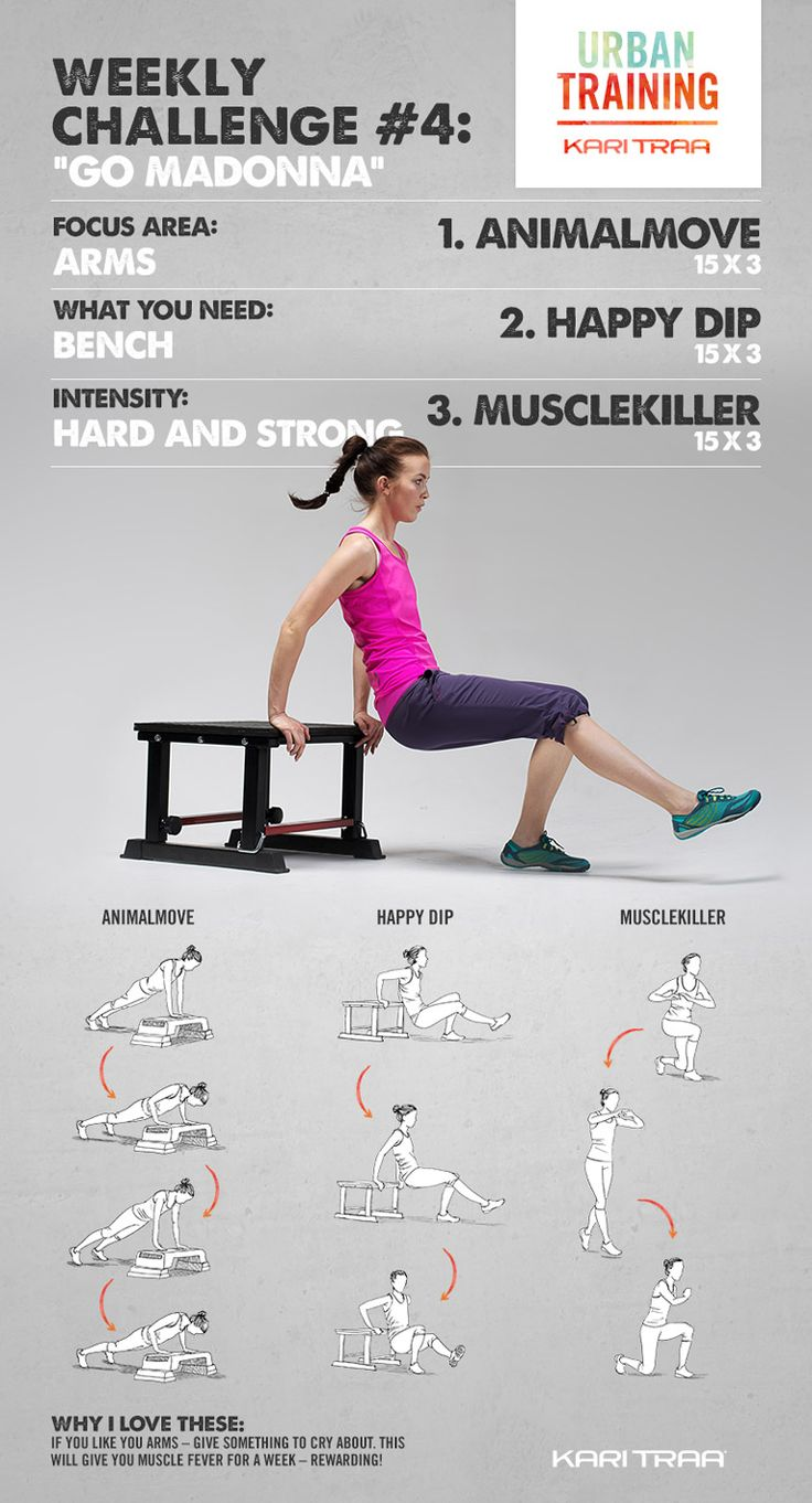 Weekly Challenge #4 - We focus on arms. Find a bench and get going! These exercises are really tough, but they give results!