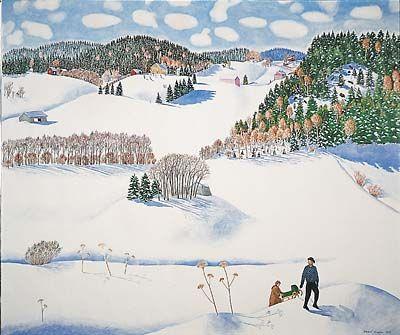 Inari Krohn: Kävelyllä, 1979, akvarelli.