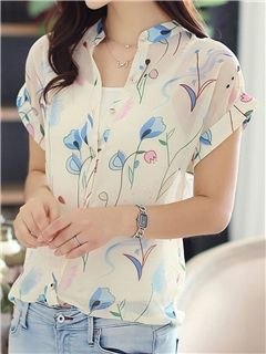 Ericdress V-neck Fresh Printing Blouse