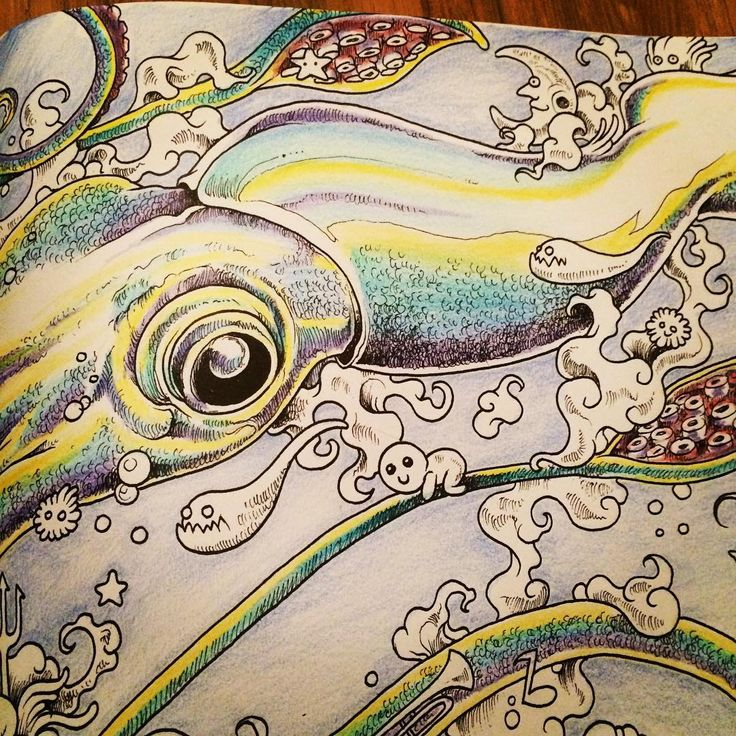 Heres My Squid Animorphia ColoringDoodlesFish