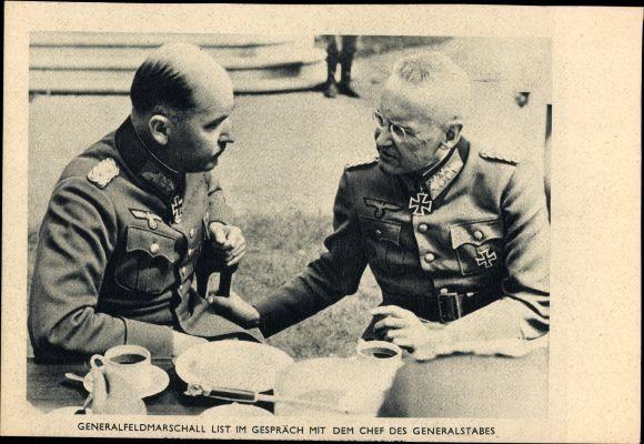 Generalfeldmarschall Wilhelm List, Im Gespräch mit dem Chef des Generalstabes Franz Halder