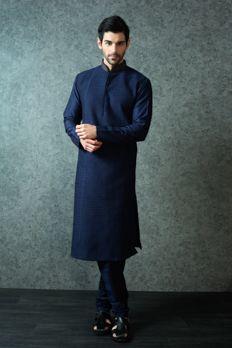Chanderi silk kurta with heavy pintex from #Benzer #Benzerworld #Indowesternwear #menswear