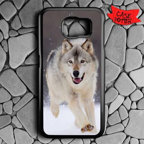 Wolf Run On White Snow Samsung Galaxy S6 Black Case