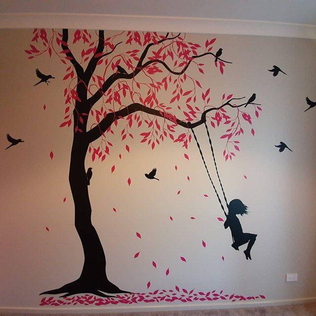 Fleurs Mural Fleurs Salon Sticker la fresque oiseau fleur fleur 8
