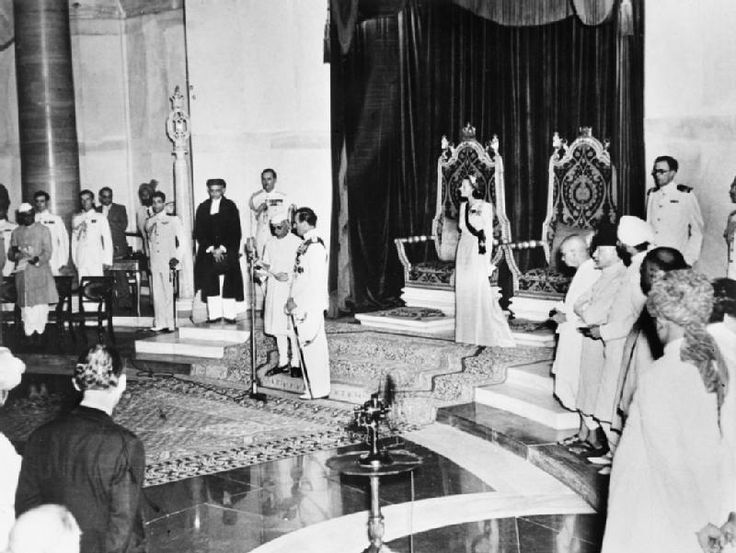 India, Independence Day, August 1947, Jawaharlal Nehru sworn in as India's first Prime Minister in the presence of The Earl and Countess Mountbatten of Burma, last Viceroy and Vicereine of India.