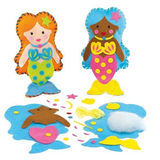 Kussen naaisets zeemeermin voor kinderen - maak je eigen decoratie - creatieve knutselpakket met naaisetje om te maken en versieren (2 stuks)