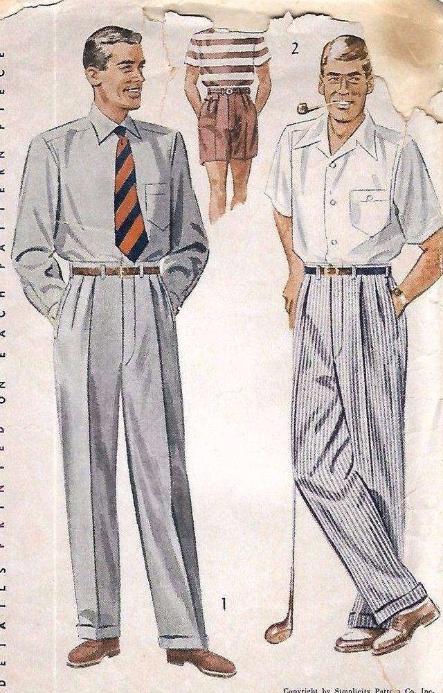 "Vintage 1950s Sewing Pattern Mens Slacks Pants Trousers Shorts Pleats W 32"" RARE #simplicity"