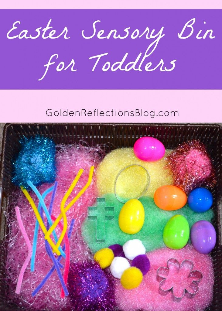 Easter Sensory Bin for Toddlers | www.GoldenReflectionsBlog.com