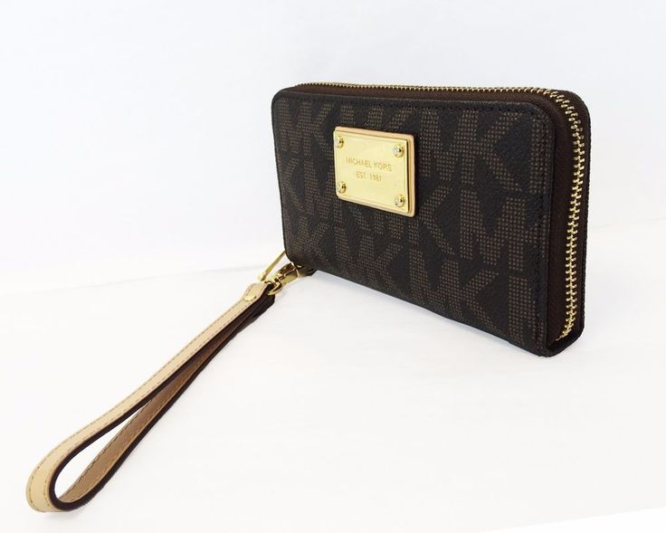 Michael Kors Jet Set Tech Brown PVC Phone Wristlet Wallet  #MichaelKors #Wristlet