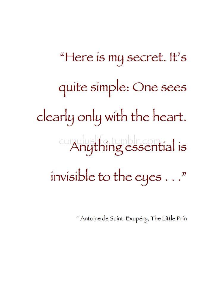 Here Is My Secret Antoine De Saint Exupery: Affections Images On Pinterest