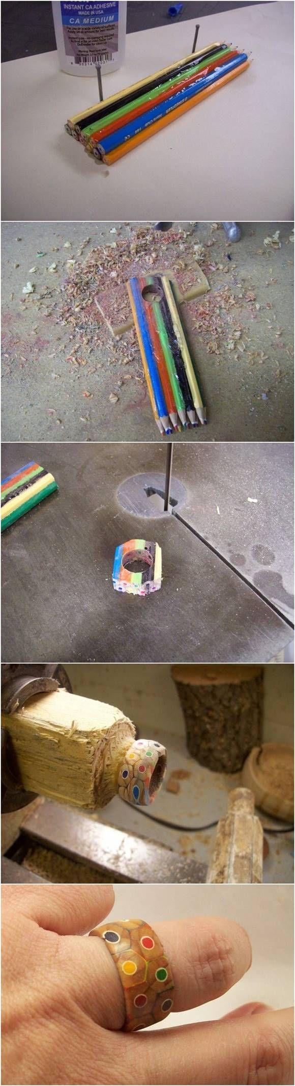 Creative Ideas - DIY Colored Pencil Ring #craft