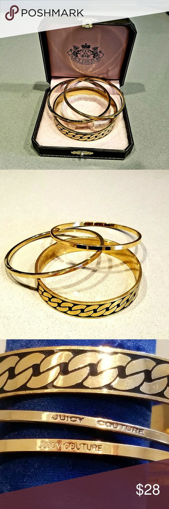 JUICY COUTURE BANGLE BRACELETS Three bras/gold color bangles with Juicy Culture box. To bangles are hallmarked. One bangle is enameled. Juicy Couture Jewelry Bracelets