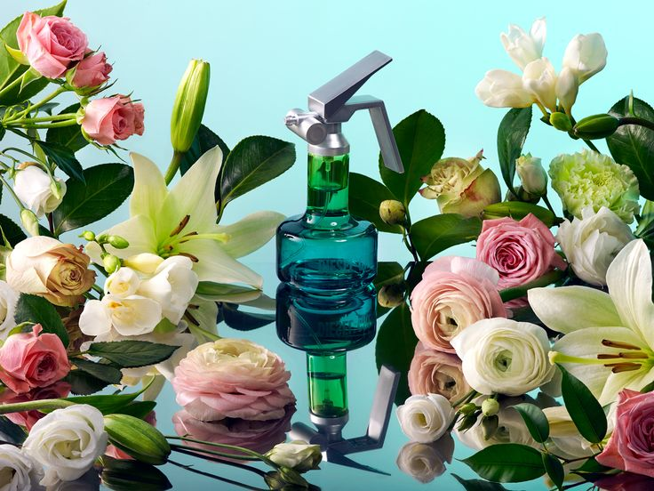 Perfume Still Life photo by Maciej Miloch - Diesel Perfume and flowers' reflection