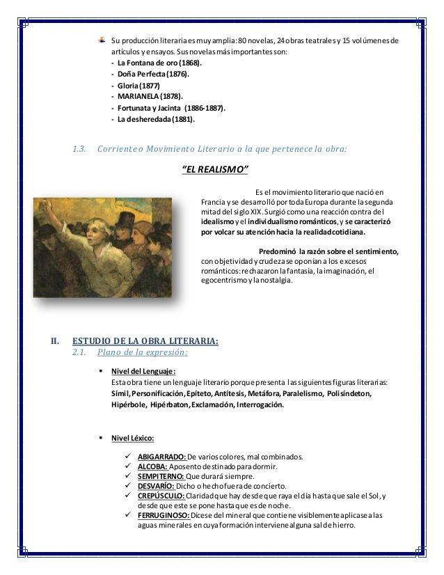 Analisis Literario De Marianela Benito Perez Galdos Benito
