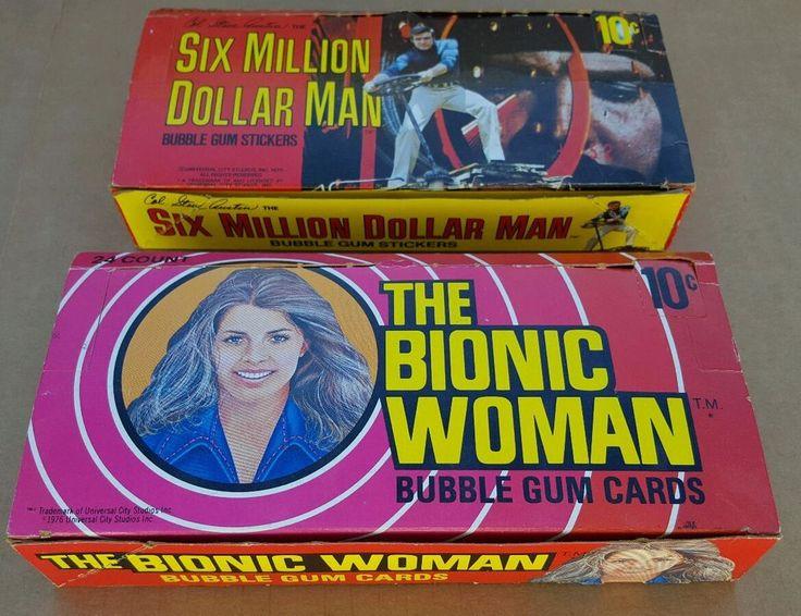 Six Million Dollar man + Bionic Woman trading card BOX only 1976 TV show Donruss
