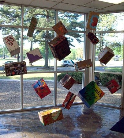 Altered Box Installation - Conway High School Art Project. elements and principles review project.