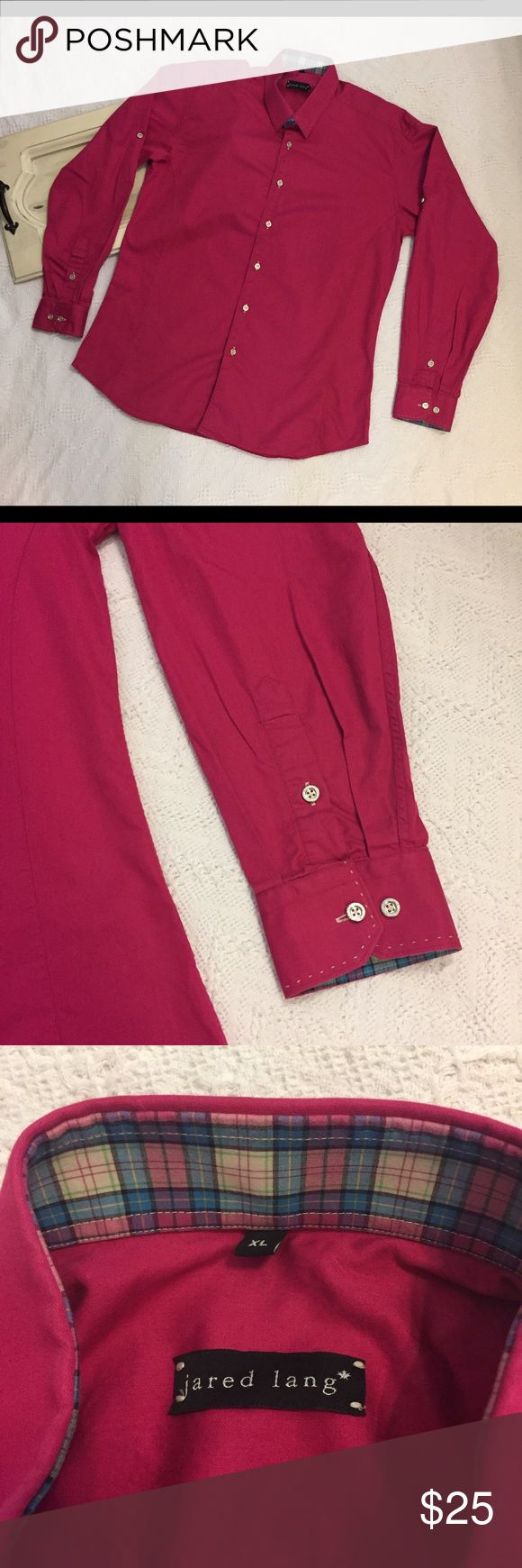 "Men's Jared Lang L/S Pink button down shirt XL EUC Men's Jared Lang long sleeve button down shirt size XL.  Nice Dark Pink color with Plaid accents on the collar & sleeves.  Awesome silver buttons and sleeves can be rolled up and buttoned to show the plaid.  Gently used condition, no flaws or defects. Please see pictures for details.   Armpit to Armpit - 22.5""  Length - 30.5""   Thank you for shopping with us, we appreciate your business.  *All items are measured laying flat, please be sure…"