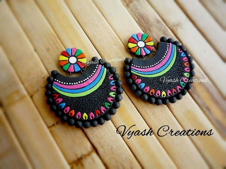 Multi color Terracotta earrings