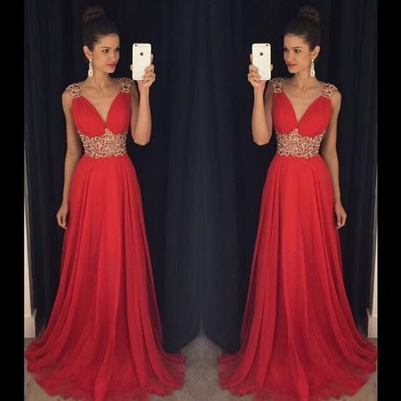 Newest V-Neck Beading Prom Dresses,Long Prom Dresses,Cheap Prom Dresses, Evening Dress Prom Gowns, Formal Women Dress,Prom Dress